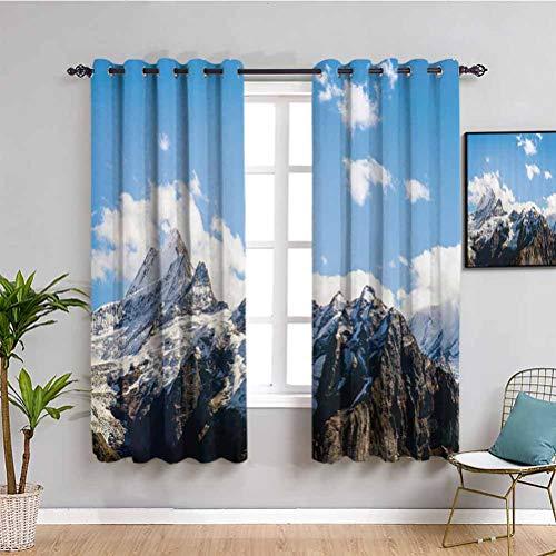 Lake House Decor - Cortina de tela (2 paneles), diseo de paisajes de montaa nevada en verano, cielo, nublado, natural, 2 paneles, blanco, azul, marrn, ancho 72 x largo 72 pulgadas
