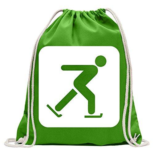 Kiwistar - Schlittschuhlaufen Piktogramme Turnbeutel Fun Rucksack Sport Beutel Gymsack Baumwolle mit Ziehgurt