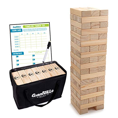 Giant Tumbling Timber Toy - Jumbo JR. Wooden Blocks Floor Game for Kids and Adults, 56 Pieces,...