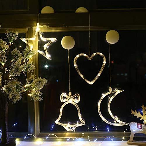 BDTLBJ Luz de Navidad LED con ventosa para decoración de ventanas, muñeco de nieve, árbol de Navidad, cinco cuerpos, cortinas de escena (tamaño: Papá Noel)