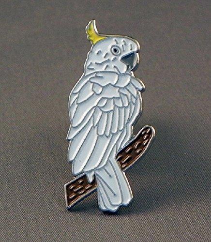 Anstecknadel aus Metall, Emaille, Kakadu, Nymphensittich, Papagei, Vogel