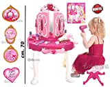 Specchiera Giocattolo per Bambine specchi Acconciature con Accessori luci e Suoni Altezza 70 cm. con Sgabello