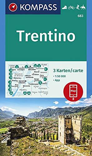 KV WK 683 Trentino 50T: 3 Wanderkarten 1:50000 im Set inklusive Karte zur offline Verwendung in der KOMPASS-App. Fahrradfahren. Skitouren. Reiten. (KOMPASS-Wanderkarten, Band 683)