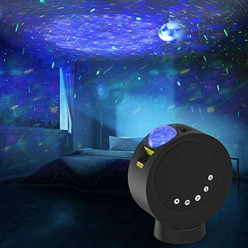StarProjectorGalaxyMoonNightLightforKidsBedroom Remote Control 4000mAh Battery Nebula Projector Lamp for Game Room Party Decor Mood Lighting Ambiance Gift for Children and Adults (Black)