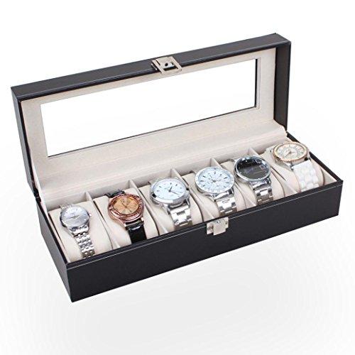Auwer Upscale Piel 6Ranuras muñeca Reloj Pantalla Caso Superior Cristal Joyería Cajas De Almacenamiento De Soporte para Los Hombres Regalos