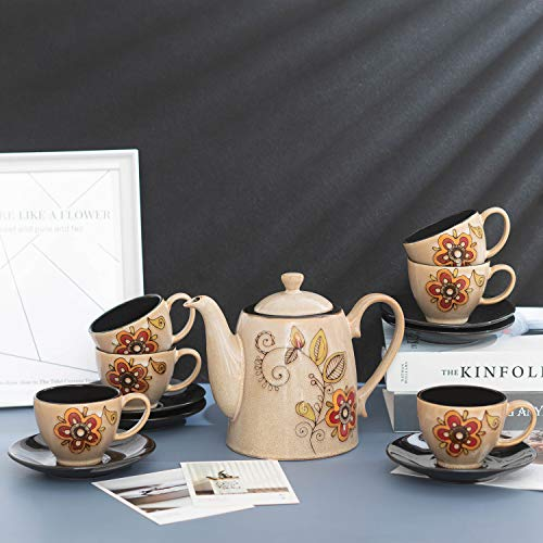 SOPRETY Juego de café de porcelana de 13 piezas, para 6 personas,...