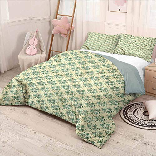 Leaves Bedding 3-Piece Full Bed Sheets Set, Washed Microfiber 3 Piece Bedding Sets Foliage and Flowers Super Soft - Full 80'x90'