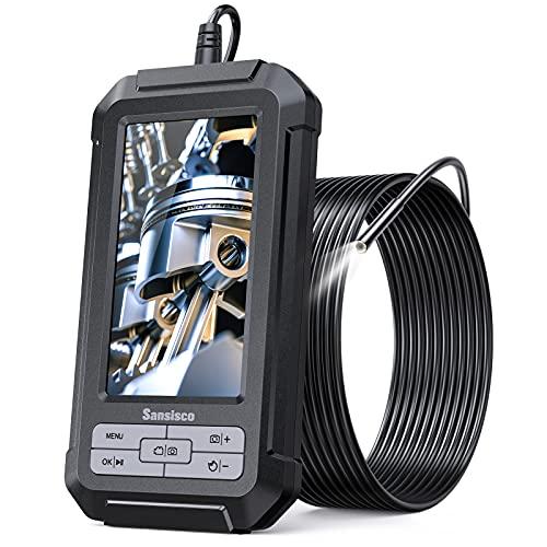 Borescope Camera, Sansisco 1080P HD Digital Endoscope with 5.5 mm Probe, 4.3-Inch LCD Screen Vi…