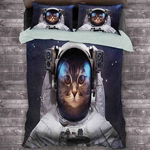 Luoiaax Space Cat 3-Pack (1 Duvet Cover and 2 Pillowcases) Milkyway Galaxy Space Traveller Cat in Suit with Stars Backdrop Image Polyester (Full) Navy Blue and White