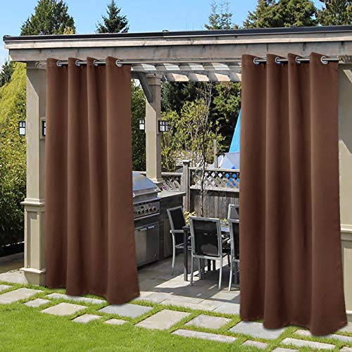 BGment Outdoor Curtains for Patio Rustproof Grommet Waterproof Windproof Thermal Gazebo Curtains Set of 2 Panels ( 52 x 84 Inch, Tan )