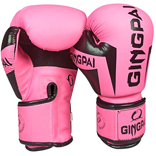 GINGPAI Boxing Gloves for Men Women,Leather Boxing Gloves for Punching Bag,Kickboxing,Muay Thai Fighting Gloves (Pink - Black, 8oz)