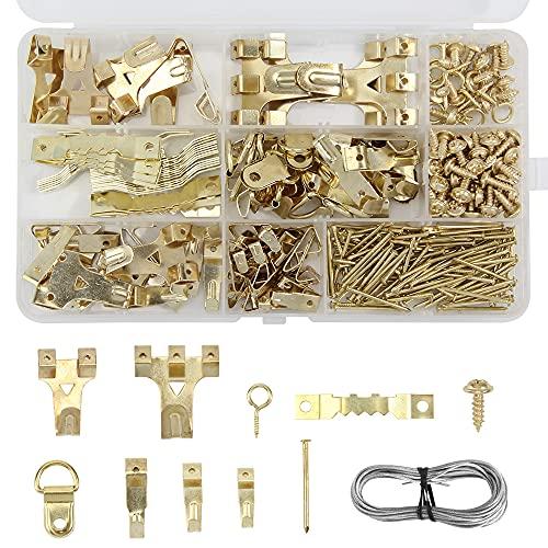 Ganchos para fotos, Colgador para Cuadros Kit, 282 Pcs ganchos de metal para colgar el marco de fotos en la pared, con uñas Caja Plastica(Dorado)