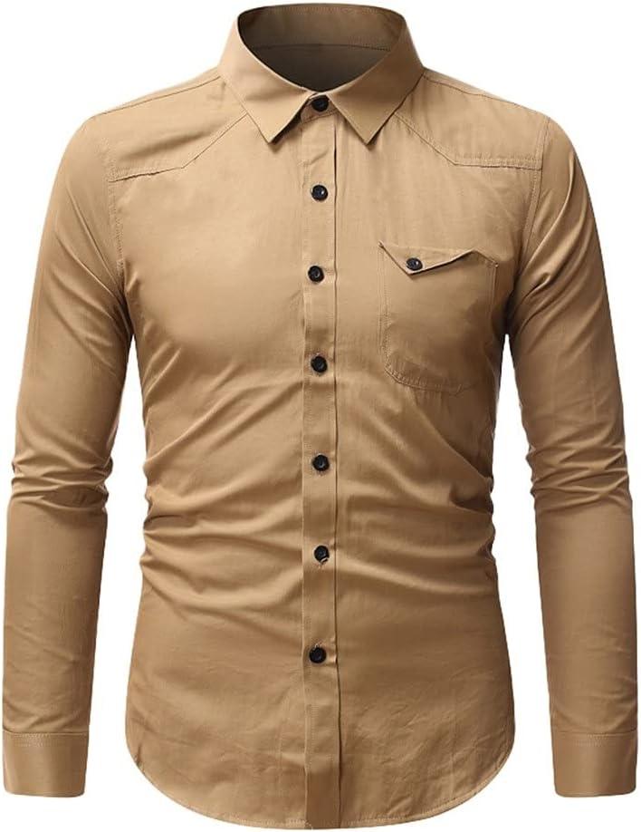 ZLDGYG ZMMDD Hawaiian Shirts for Colorado Miami Mall Springs Mall Men Sleeve Solid Color Shi Long