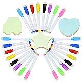 24 Pcs Bolígrafos para Pizarra Pizarra magnética de borrado en seco Tablero Blanco Pluma marcadores en seco con borrador y 3 notas adhesivas para el hogar la Escuela o la Oficina