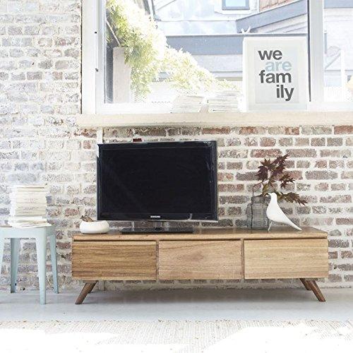 Meuble TV en Bois de Mindy 3 tiroirs abattants