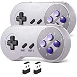 2 Pack 2.4 GHz Wireless USB Controller Compatible with Super NES Games, SAFFUN SNES Retro USB PC Super Classic Controller for Windows PC MAC Linux Genesis Raspberry Pi Retropie (Purple / Gray)