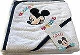 Albornoz para bebé de Disney Baby   Precioso albornoz triangular con Mickey y Minnie Mouse   100% algodón – disponible para niños y niñas de 3 a 36 meses, navy, 3 mes