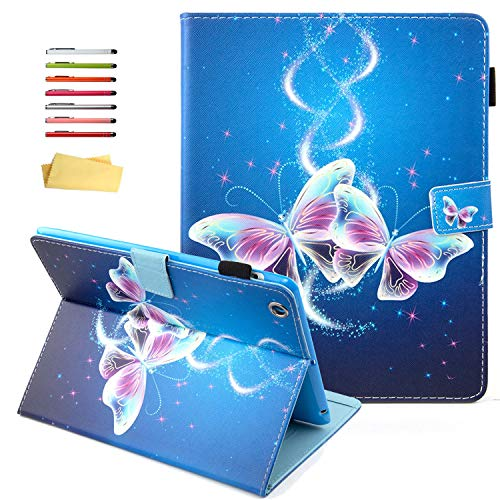 UUcovers iPad 2/ iPad 3/ iPad 4 Case (9.7 INCH), Smart Folio Stand Synthetic Leather Shell TPU Cover with Pencil Holder [Auto Sleep/Wake] for Apple iPad 2nd,3rd,4th Generation, Bling Purple Butterfly
