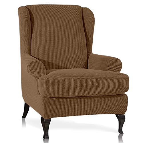 TOPOWN Ohrensessel Überzug Stretch Jacquard Überwurf Sessel Ohrensessel Überwürfe Sessel Sesselbezug Ohrensessel Elastisch überwurf ohrensessel Husse für Ohrensessel (Kaffee)