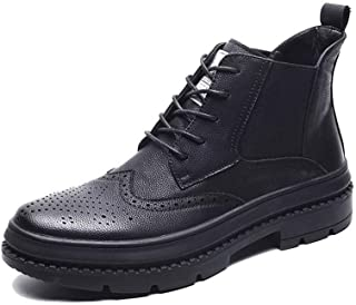 Xujw-shoes store, 2019 Mens New Lace-up Flats Mens Fashion Chelsea Boots for Men Ankle Boot Pull On PU Leather Brogue Carving Rubber Sole Lace Up Elastic Sides Wear-Resisting Anti Skid Comfortable
