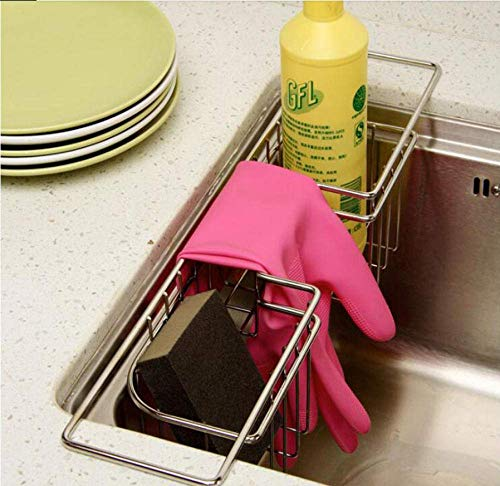 MLL Sink Basket draining Rack Stainless Steel Multifunctional Kitchen Rack Compartment Laundry Rack Sponge Towel Storage Box