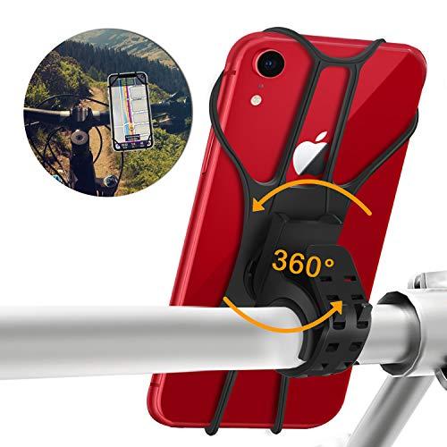 Kriogor Soporte Movil Bicicleta, Soporte Universal Manillar de Silicona para Moto Bicicleta Motocicleta, Apoyo 360° Rotación para iPhone y Samsung