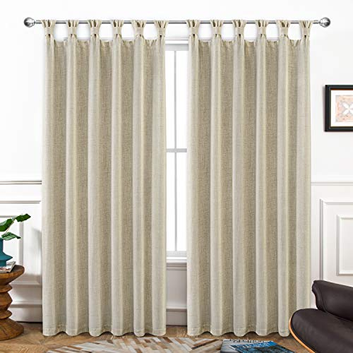 DriftAway Twist Tab Linen Blend Lined Thermal Insulated Blackout Solid Farmhouse and Modern Rustic Curtains for Living Room Bedroom 2 Panels 52 Inch by 84 Inch Beige