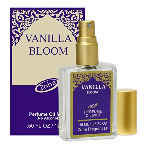 Vanilla Bloom Perfume Oil Mist (no alcohol spray) - Natural Organic Essential Oils and Hypoallergenic Vegan Perfumes for Women and Men by Zoha Fragrances, 15 ml / 0.50 fl Oz