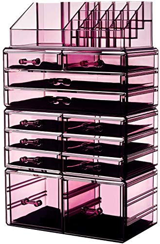 """HBlife Makeup Organizer Acrylic Cosmetic Storage Drawers and Jewelry Display Box with 12 Drawers, 9.5"""" x 5.4"""" x 15.8"""", 4 Piece, Violet"""