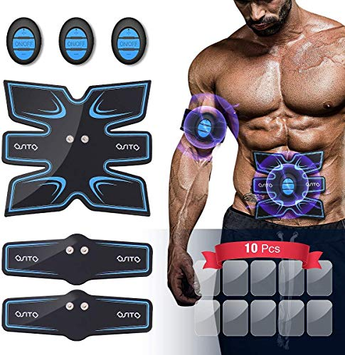 OSITO Abs Stimulator Muscle Toner Abdominal Muscle Trainer - Rechargeable EMS Ab Stimulator for Men Women Home Office Portable Workout Equipment for Abdomen