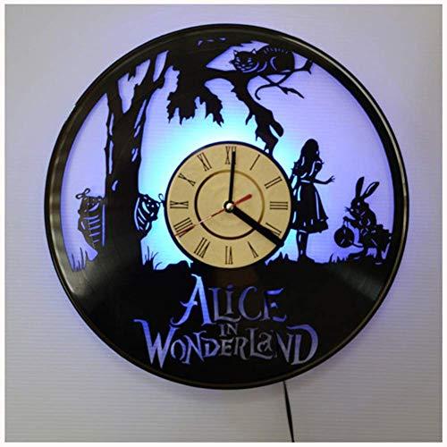 Vinilo Pared Reloj Alicia en el país de Las Maravillas LED Brillante de 12 Pulgadas Reloj Retro Regalo de la decoración Siete Color
