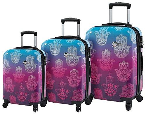 Mia Toro Love This Life-Hamsa Hardside Spinner Luggage 3pc Set, Ltl, Multi-Colored, One Size