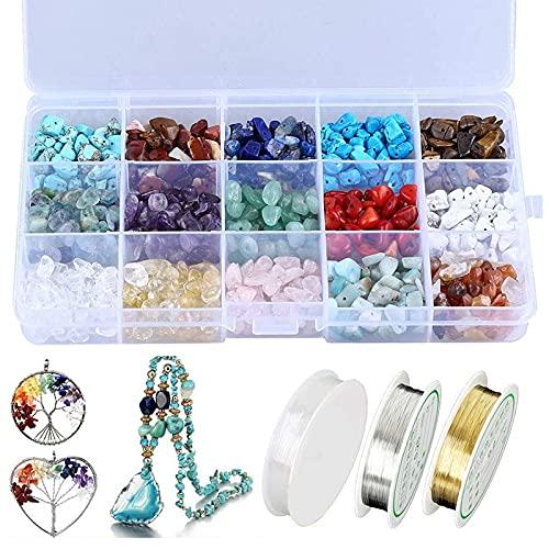 Cuentas de piedra, chips de cristal natural, kit de cuentas de piedra irregular, con alambre de metal y cuerda elástica para hacer joyas, manualidades (color: como pi)