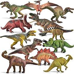 6. JOYIN Realistic Dinosaur Figures Playset with Educational Booklet (12 pieces)