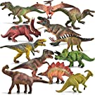 JOYIN 12-in-1 Realistic Jurassic Colossal Dinosaur Figures Playset with Educational Booklet for Kids, School Classroom Rewards, Carnival Prizes, Class Material, and Birthday Presents