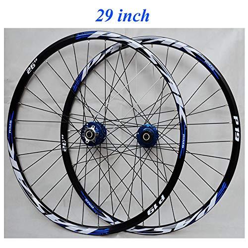 YUASIA 29 Pouces Vélo de Montagne Paire Roues,VTT Double paroi Moyeu Alliage Aluminium Jante Frein...