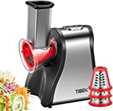 Salad Maker Machine, TIBEK Electric Slicer Graters/Shredder for Home Kitchen Use, One-Touch Easy Control and 5 Attachments for Fruits, Vegetables, Cheeses and Fruit Smoothie, 200W, BPA-Free, Red