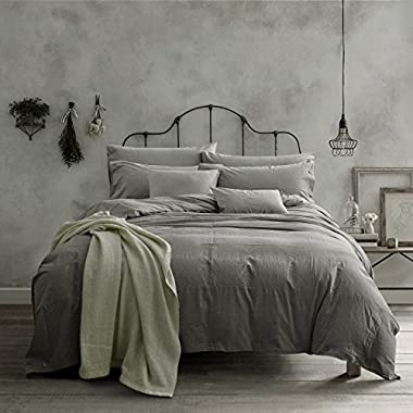Doffapd Duvet Cover Queen, Washed Cotton Duvet Cover Set - 3 Piece (Queen, Light Gray)