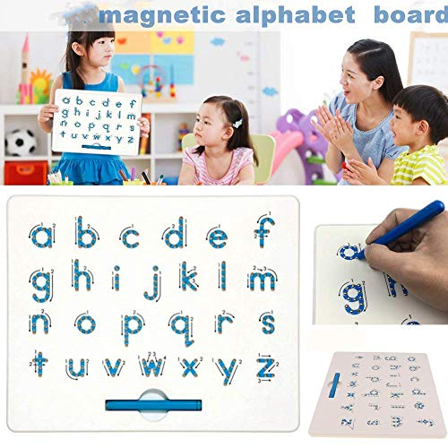 SuperLi Magnetic Alphabet Letter Tracing Board - STEM Educational Learning ABC Letters Kids Drawing Board with Stylus Pens- Best Gift for Boys and Girls (Lower Case)
