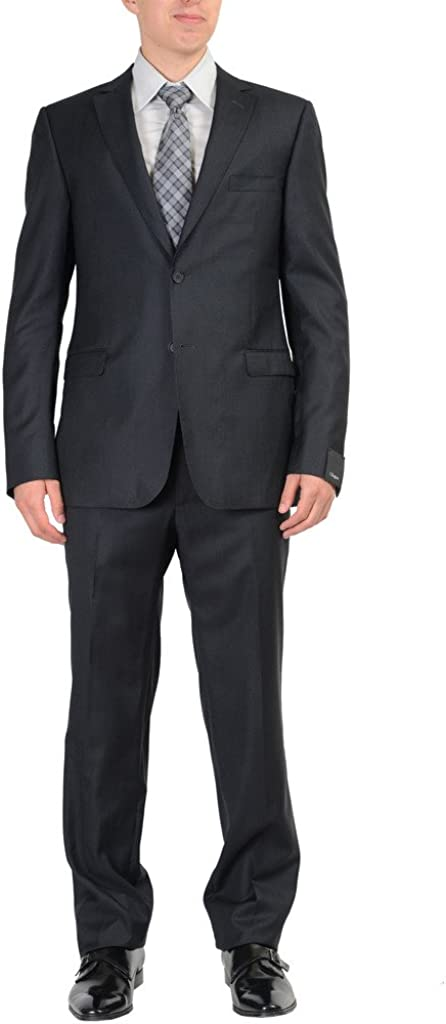 ZZegna 100% Wool Black Striped Men's Two Button Suit