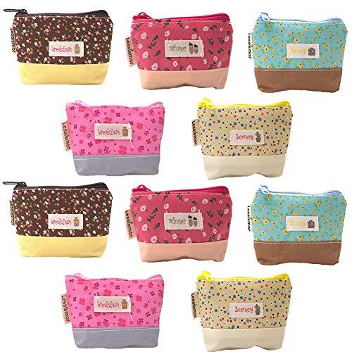 Mini Portamonete in Tela ZSWQ-Mini Canvas Cash Bag,Tasca Monete Portafoglio con Cerniera per Donne e Ragazze (10 Pezzi)