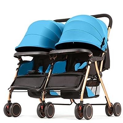 JM Carro de bebé Cochecito de bebé gemelos sentado luz reclinable Segundo niño cochecito de bebé doble (Color : C)
