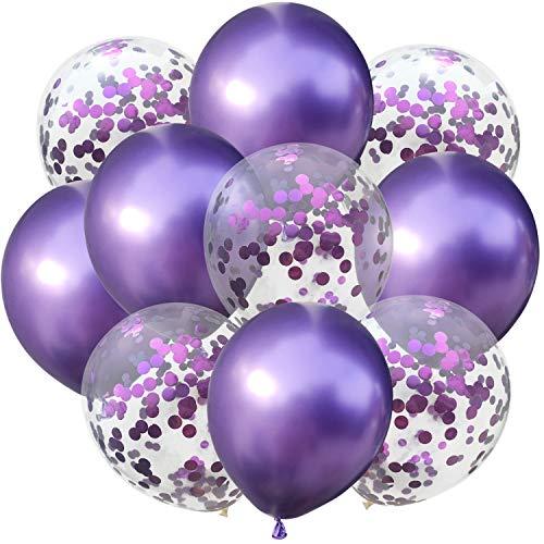 Oblique Unique® Konfetti Luftballon Set für Geburtstag Feier Jubiläum Hochzeit JGA Party Deko Ballons Lila