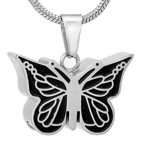 TIANZXS Joyería de Recuerdo de Ceniza Conmemorativa de Mariposa de Esmalte Negro, Collar con Colgante de Cenizas de urna de cremación de Animales Negro