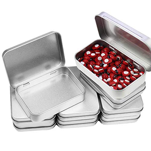 Cajas Metalicas Pequeñas (Pack 8) Latas de Aluminio Tapa Transparente sin Bisagra - 11.5cm x 8.5cm x 2.2cm - Latas Vacías para Cosméticos, Especias, Tarjeta SD, Abalorios, Monedas, Joyas, Dulces