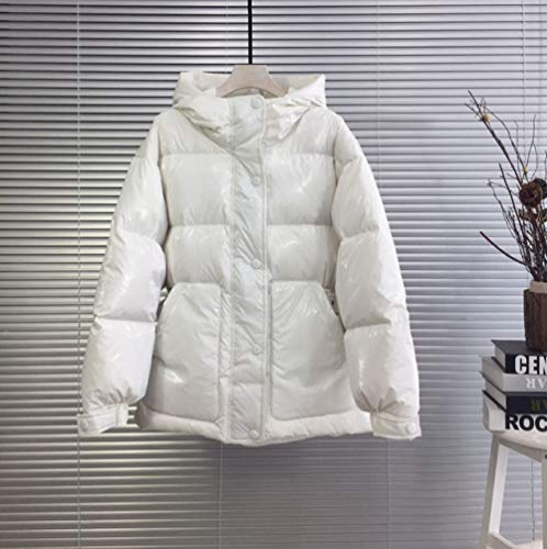 SDCVRE Chaqueta Parker,Glossy Shiny Down Jacket Women Winter Female Waterproof Parkas 90% White Duck Down Coat Ladies Feather Puffer Jackets,Ivory,M