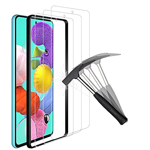 ANEWSIR 3-pack kompatibel med Samsung Galaxy A51 4G/5G skärmskydd, lätt att applicera, tunn, 9H hårdhet, härdat glas skyddsfilm
