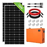 ECO-WORTHY Kit de Generador Solar 300W 12V para Emergencia/Camping: 2 Paneles Solares 150W + 750Wh Generador Portátil integrado Batería LiFePO4 con DC-12V AC-220V