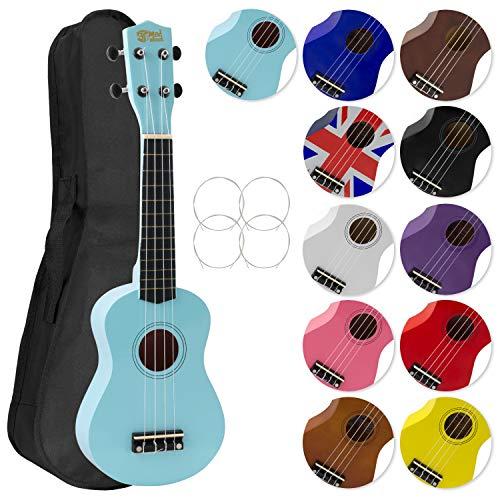 Mad About SU8 Ukelele soprano en azul claro con estuche, púa y cuerdas de repuesto, óptimo para escuelas y principiantes