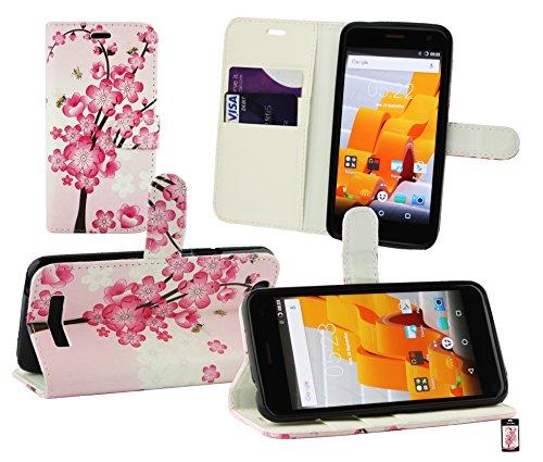 Emartbuy® Wileyfox Spark Plus/Wileyfox Spark Wallet Etui Hülle Case Cover aus PU Leder mit Kreditkartenfächern - Rosa Blossom